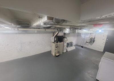 Basement with washing and drying machine, machine room